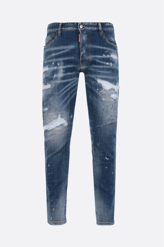 DSQUARED2: Tidy Biker distressed-effect jeans Color Blue_1