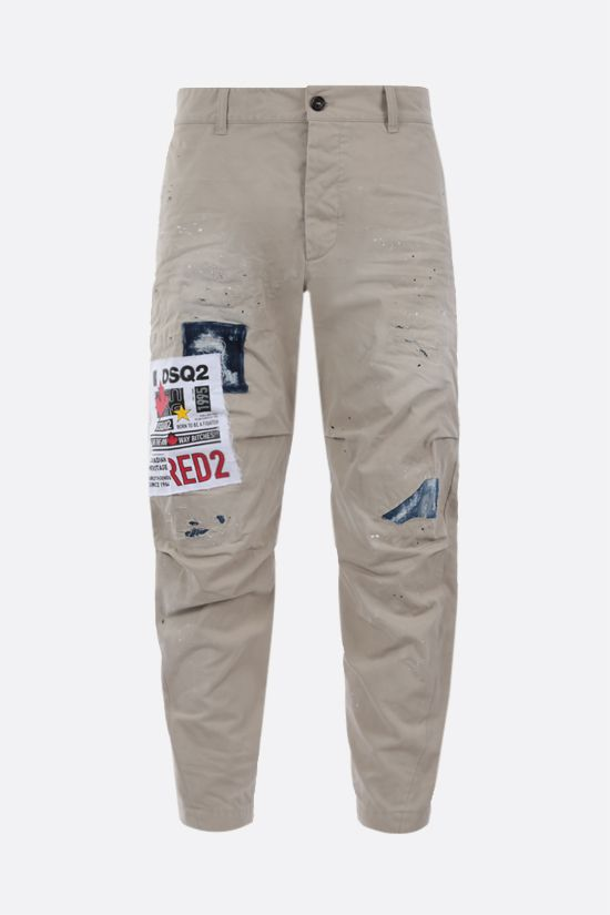 DSQUARED2: DSQ2 patch cotton chino pants Color Grey_1