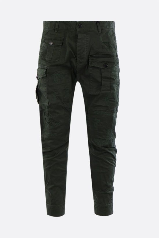 DSQUARED2: distressed-effect cotton cargo pants Color Green_1