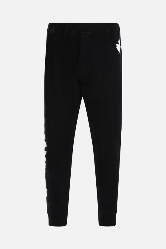 DSQUARED2: logo print cotton joggers Color Black_1