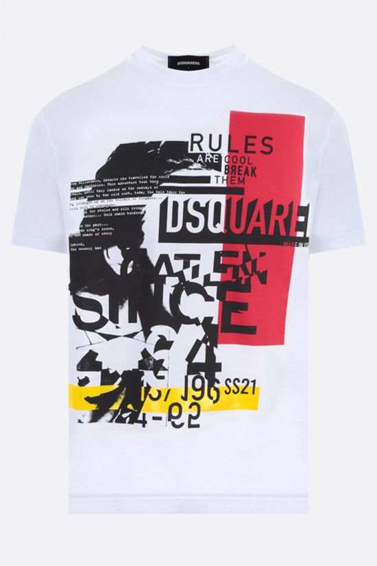 DSQUARED2: D2 Punk print cotton t-shirt Color White_1