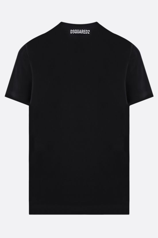 DSQUARED2: Canadian Leaf DSQ2 print cotton t-shirt Color Black_2