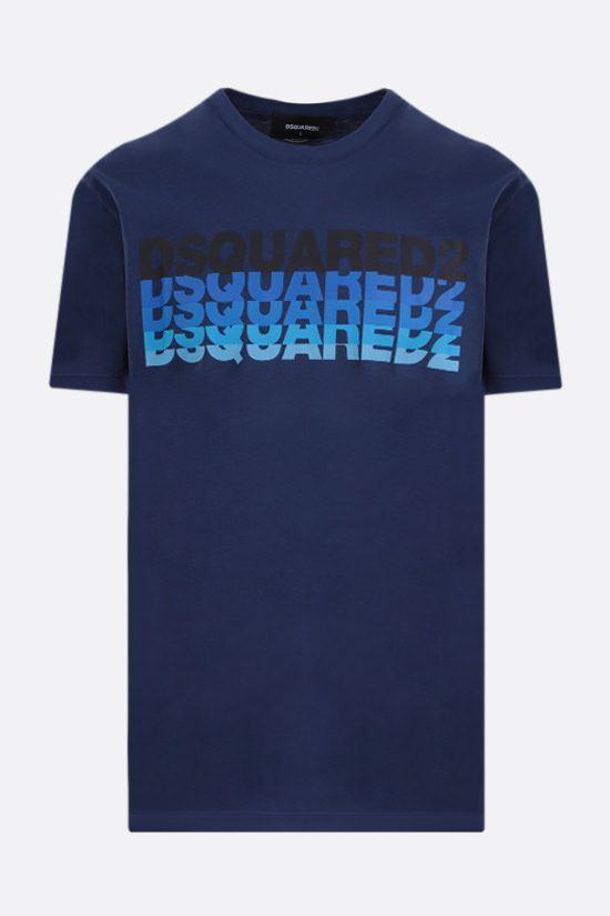 DSQUARED2: logo print cotton t-shirt Color Blue_1