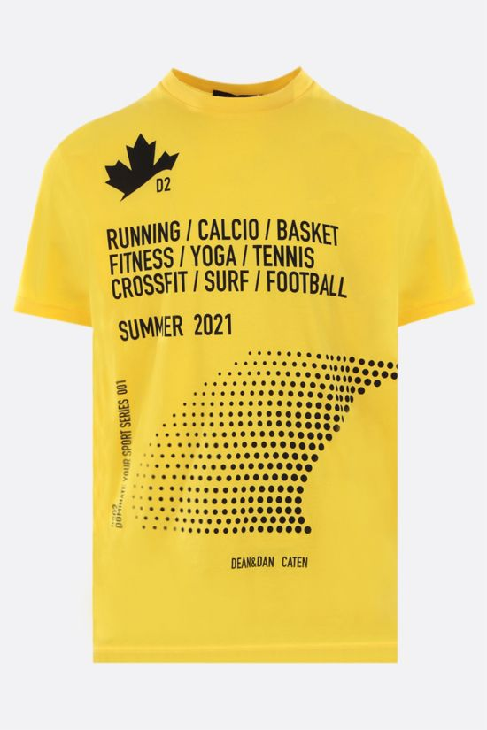 DSQUARED2: Canadian Leaf print cotton t-shirt Color Yellow_1