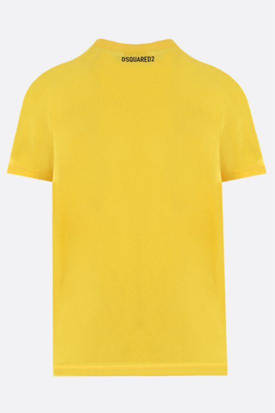 DSQUARED2: Canadian Leaf print cotton t-shirt Color Yellow_2