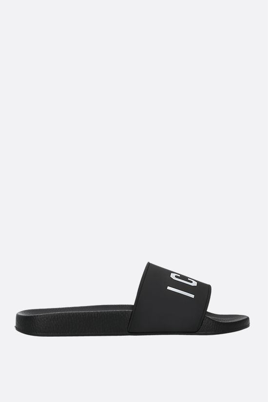 DSQUARED2: Icon rubber slide sandals Color Black_1