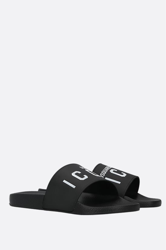 DSQUARED2: Icon rubber slide sandals Color Black_2