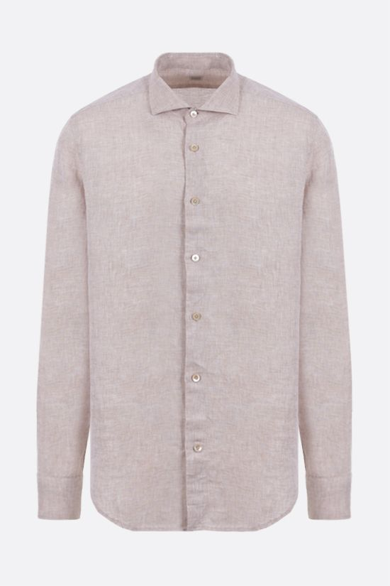 ELEVENTY: regular-fit linen shirt Color Neutral_1