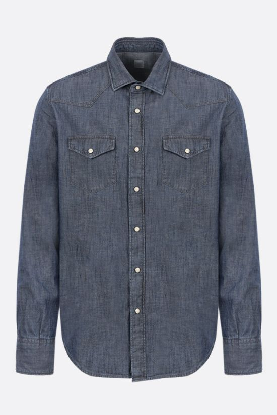 ELEVENTY: Brisbane cotton western shirt Color Blue_1