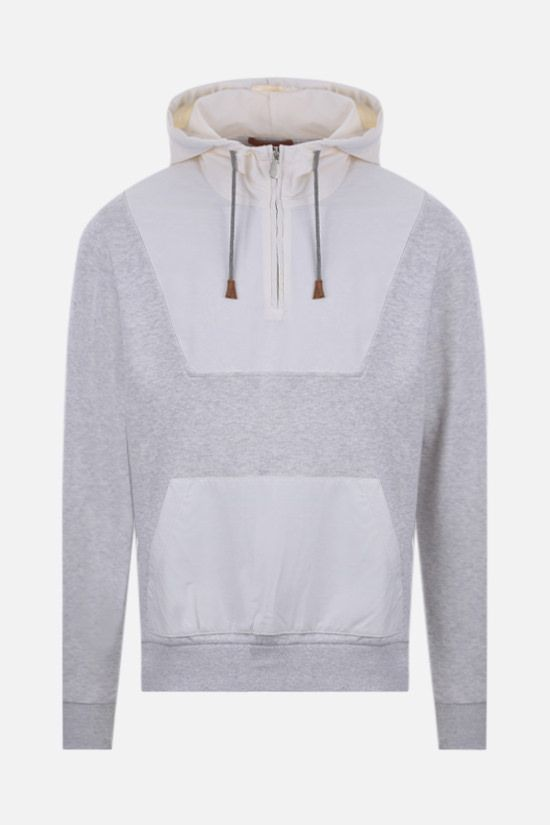 ELEVENTY: technical wool and jersey hoodie Color Grey_1