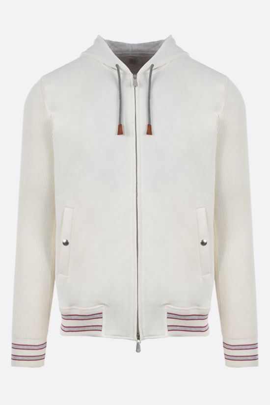 ELEVENTY: piquet full-zip hoodie Color White_1