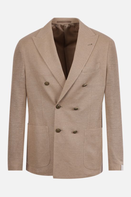 ELEVENTY: double-breasted cotton linen blend jacket Color Brown_1