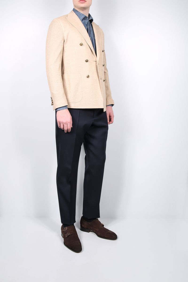 ELEVENTY: double-breasted cotton linen blend jacket Color Brown_2
