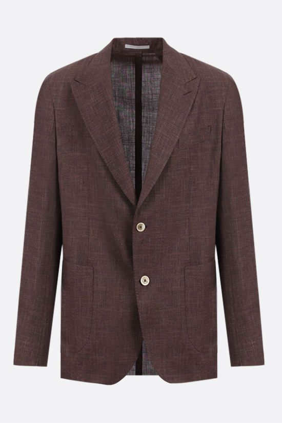 ELEVENTY: single-breasted wool silk linen blend jacket Color Brown_1