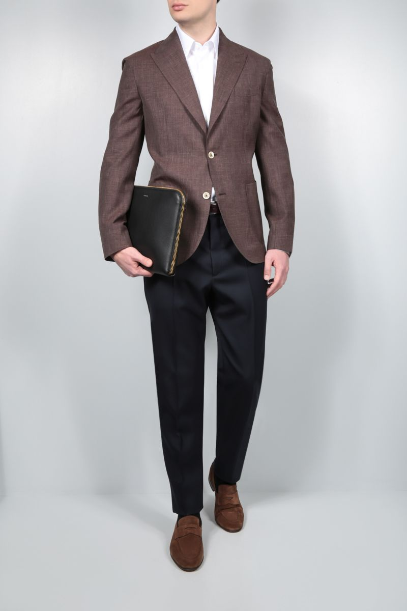 ELEVENTY: single-breasted wool silk linen blend jacket Color Brown_2