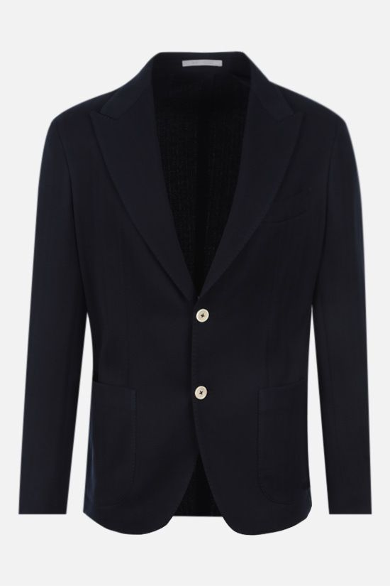ELEVENTY: single-breasted herringbone cotton jacket Color Blue_1