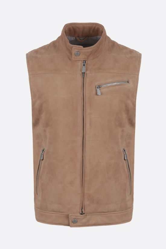 ELEVENTY: quilted suede vest Color Neutral_1