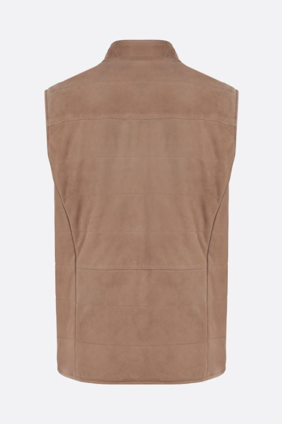 ELEVENTY: quilted suede vest Color Neutral_2