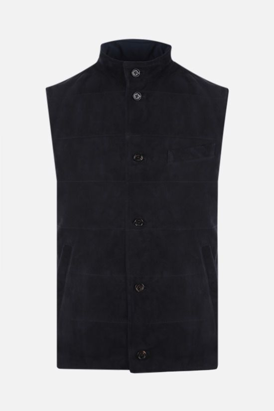 ELEVENTY: reversible suede and technical wool vest Color Blue_1
