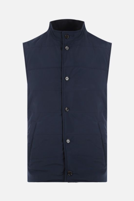 ELEVENTY: reversible suede and technical wool vest Color Blue_2