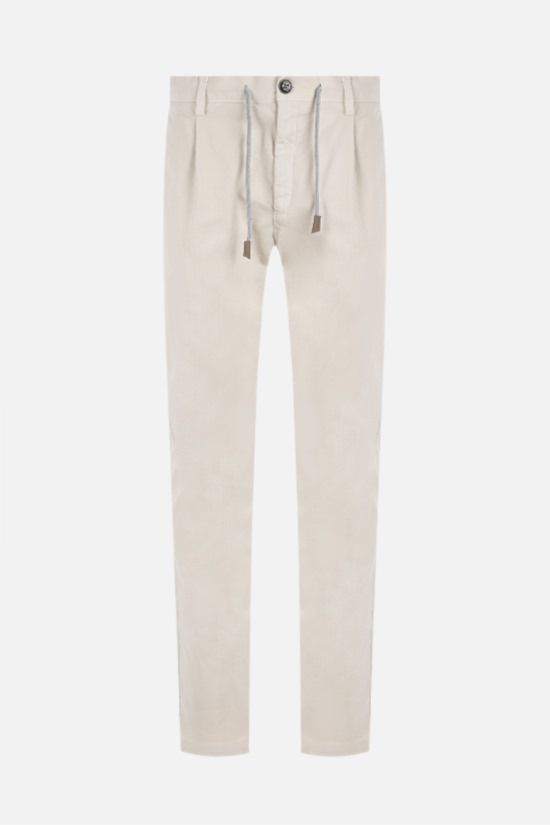 ELEVENTY: herringbone stretch cotton slim-fit pants Color Neutral_1