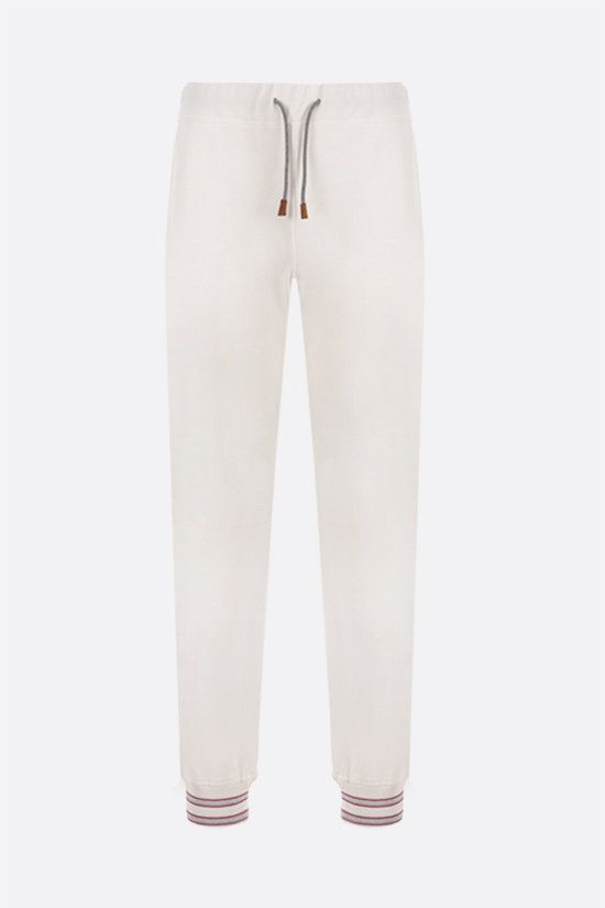 ELEVENTY: stripe-detailed piquet joggers Color White_1