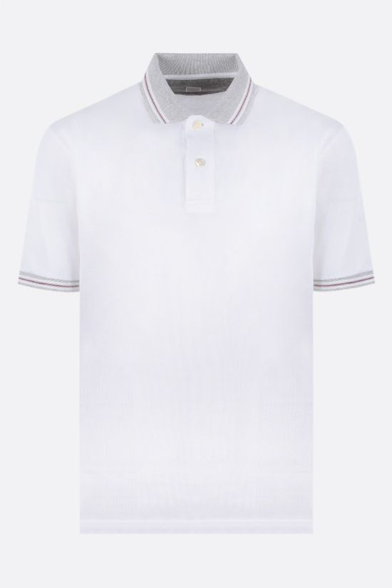 ELEVENTY: stripe-detailed cotton polo shirt Color White_1