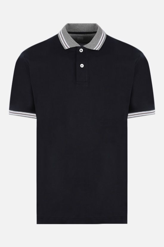 ELEVENTY: stripe-detailed cotton polo shirt Color Blue_1