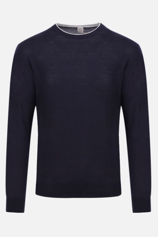 ELEVENTY: wool silk blend pullover Color Blue_1