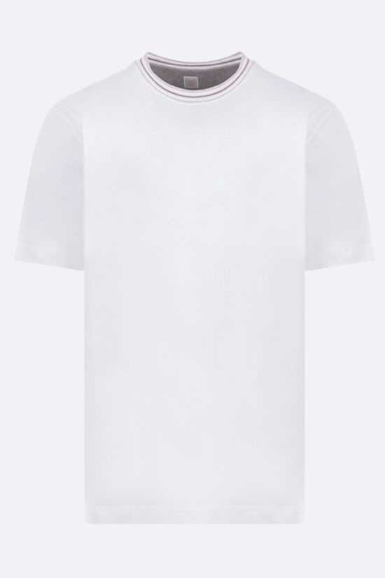 ELEVENTY: stripe-detailed cotton t-shirt Color White_1