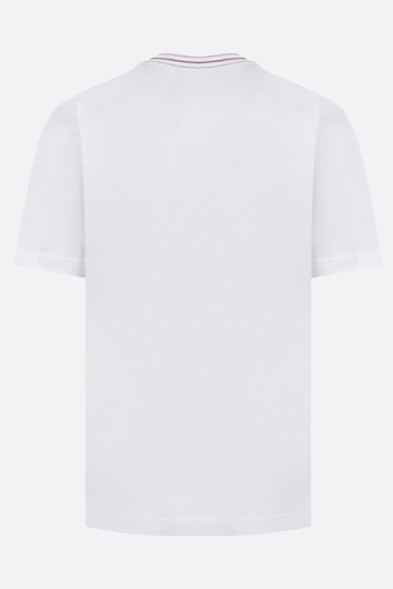 ELEVENTY: stripe-detailed cotton t-shirt Color White_2