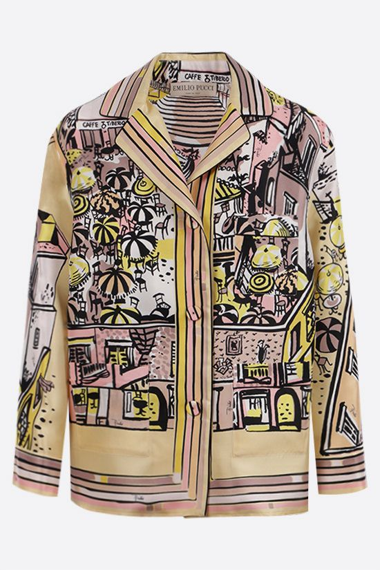EMILIO PUCCI: Piazzetta di Capri print silk shirt Color Yellow_1