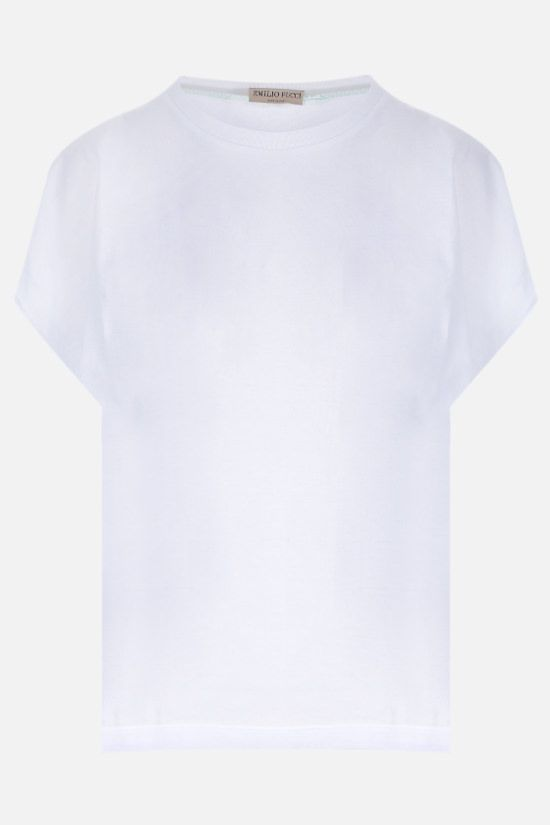 EMILIO PUCCI: seashell print twill and jersey t-shirt Color White_1