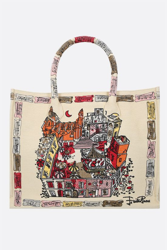 EMILIO PUCCI: Piazzetta di Capri embroidered canvas tote bag Color Multicolor_1