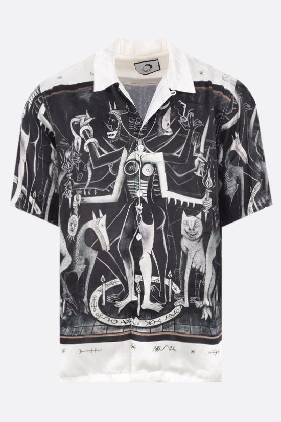 ENDLESS JOY: Hecate print satin bowling shirt Color Black_1