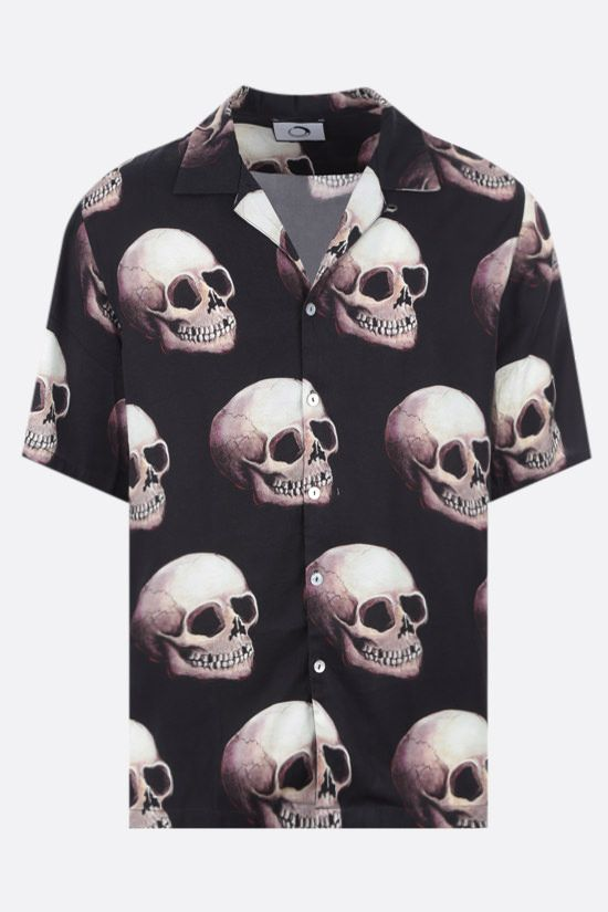 ENDLESS JOY: camicia bowling in twill stampa Skull Colore Nero_1