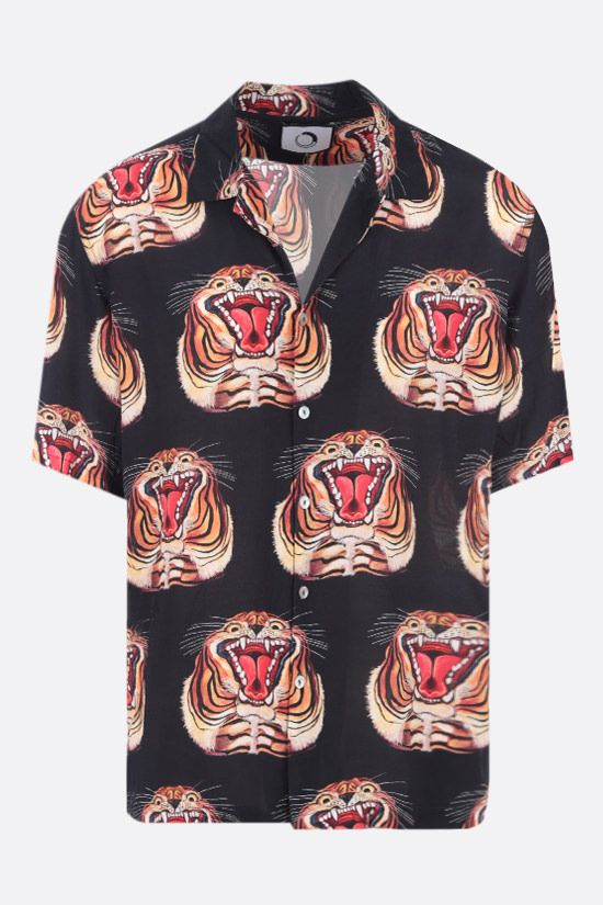 ENDLESS JOY: Tiger print crepe bowling shirt Color Black_1