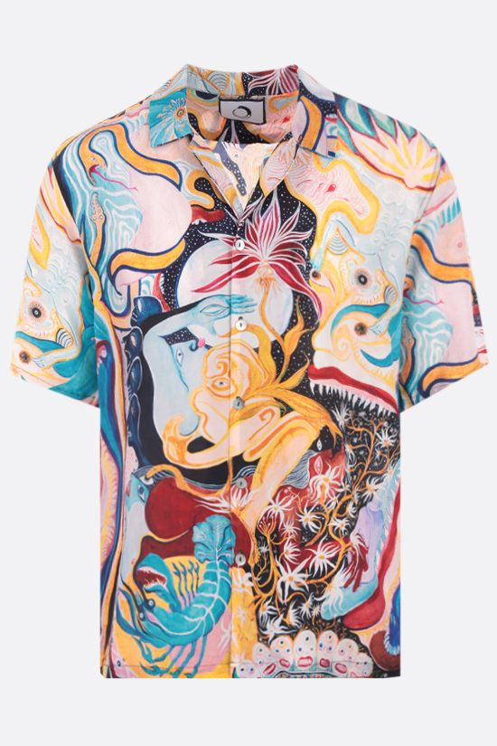 ENDLESS JOY: Turiya print silk bowling shirt Color Multicolor_1