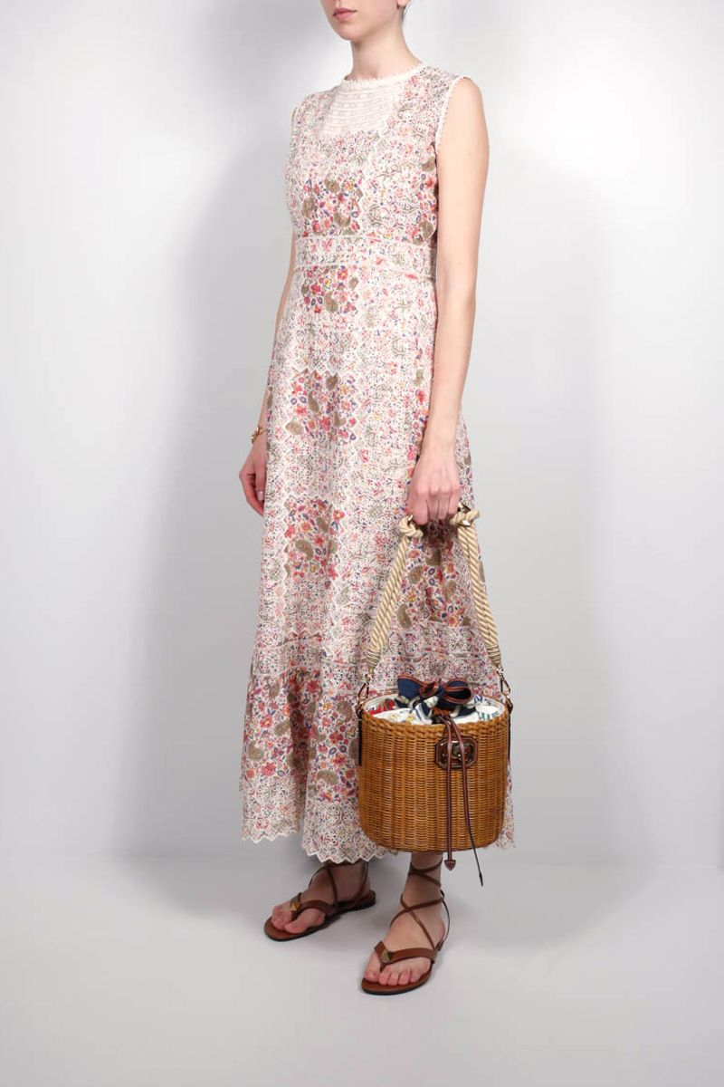 ETRO: paisley print embroidered cotton long dress Color Multicolor_2