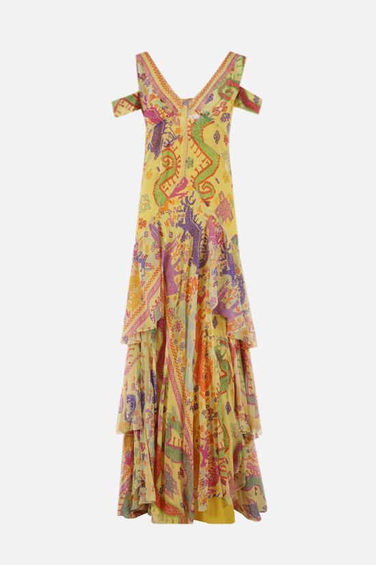 ETRO: naif print silk long dress Color Yellow_1