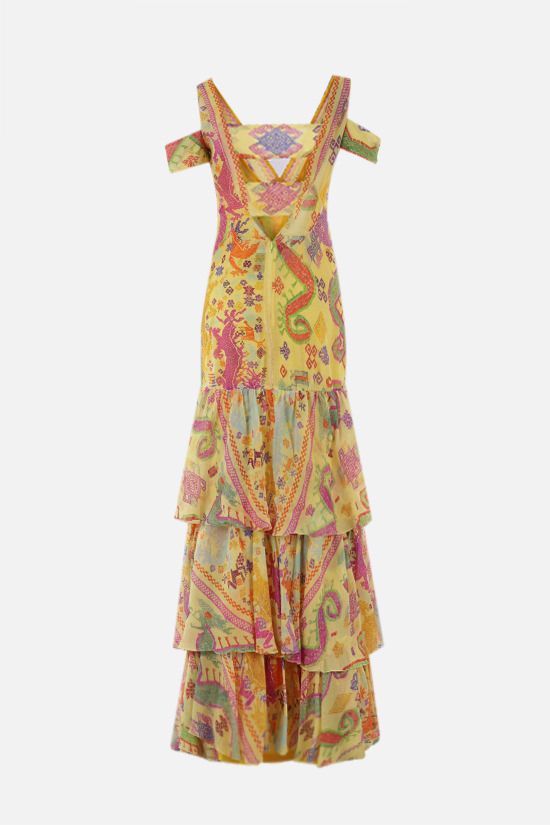 ETRO: naif print silk long dress Color Yellow_2