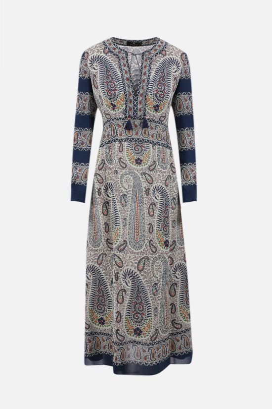 ETRO: mosaic paisley print stretch viscose midi dress Color Multicolor_1