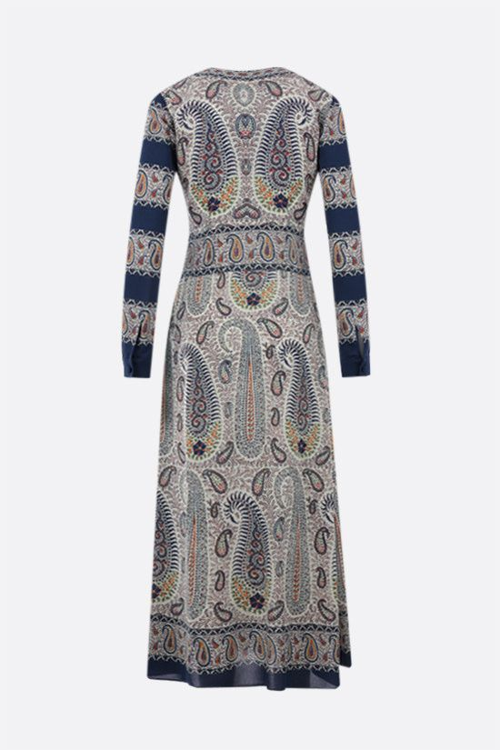 ETRO: mosaic paisley print stretch viscose midi dress Color Multicolor_2