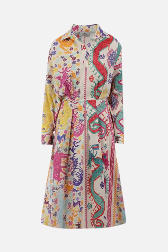 ETRO: naif print cotton shirt dress Color Multicolor_1