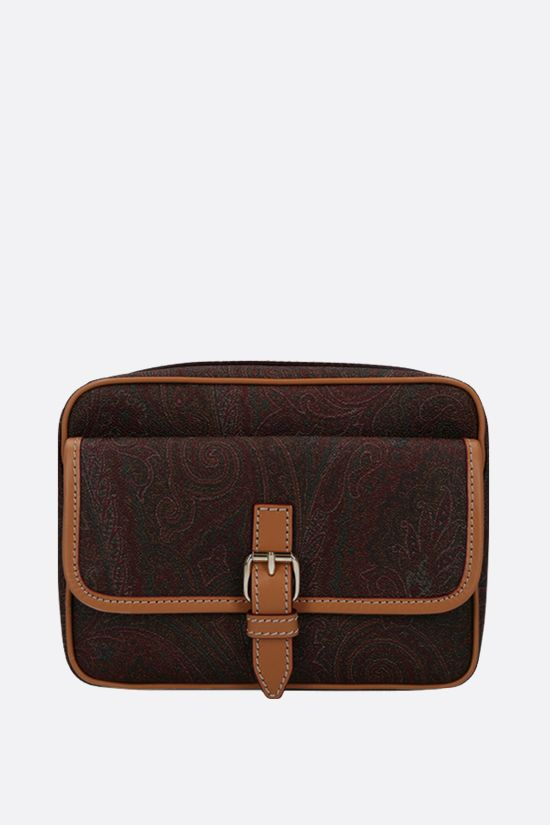ETRO: coated canvas crossbody bag Color Brown_1