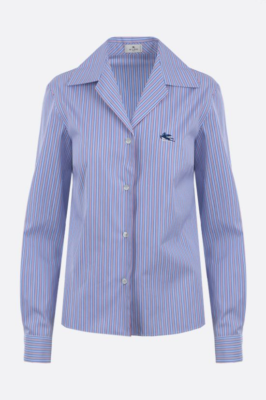 ETRO: Pegaso embroidered striped cotton shirt Color Multicolor_1