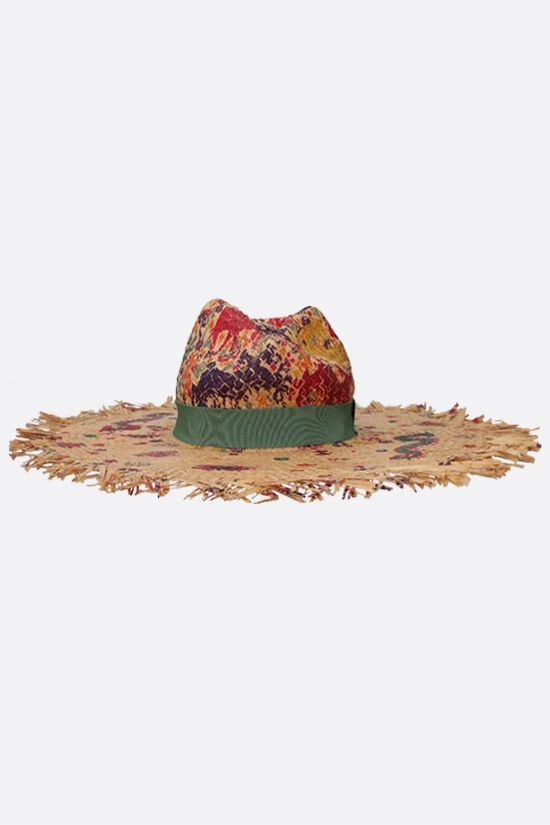 ETRO: naif print raffia wide-brim hat Color Multicolor_1