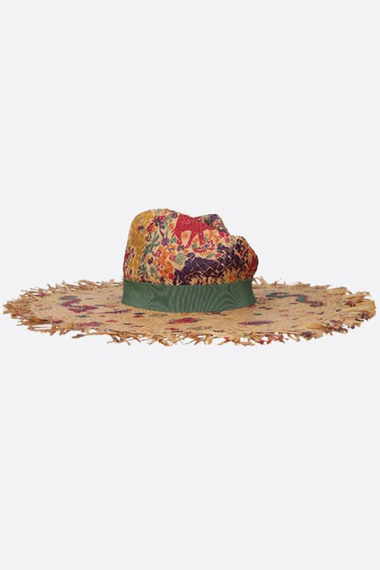 ETRO: naif print raffia wide-brim hat Color Multicolor_2