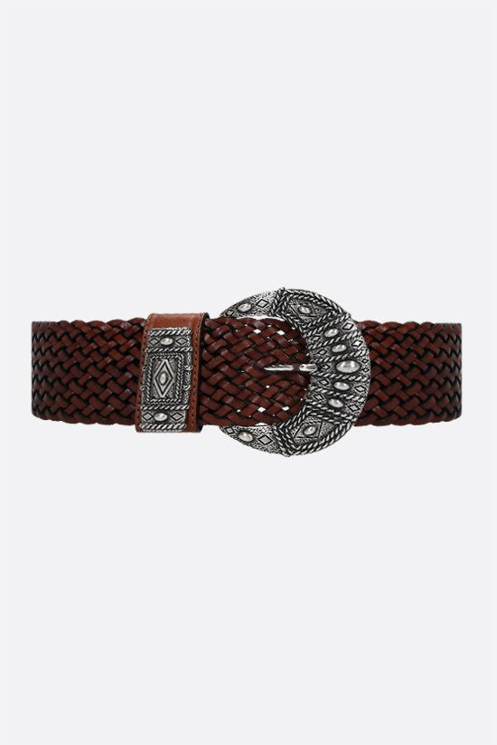 ETRO: woven leather belt Color Brown_1
