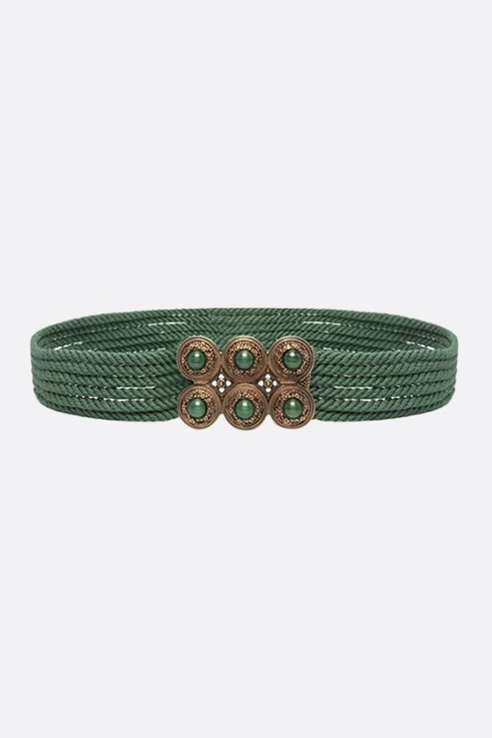 ETRO: jewel buckle-detailed rope belt Color Green_1